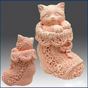 """Форма Люкс """"Кішка в шкарпетці"""" 3D - 1"""