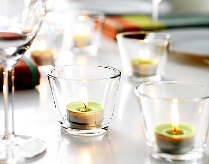 Подсвечник стеклянный для чайной свечи (прозрачный) - 1