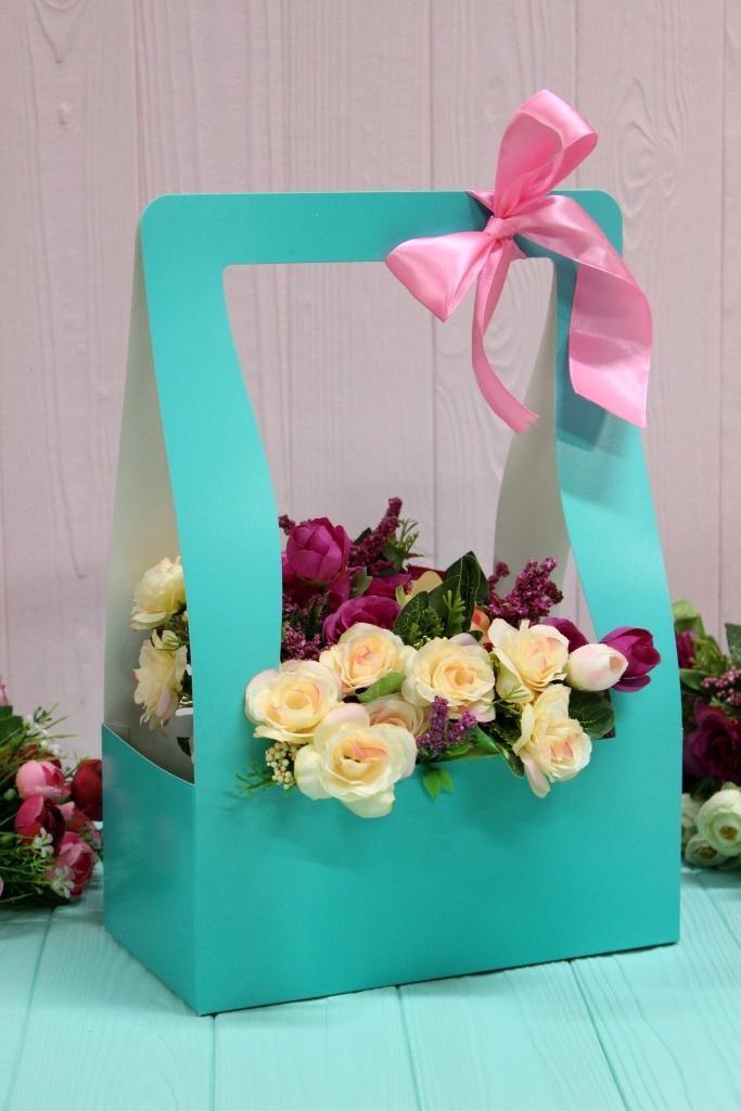 """Коробка для цветов """"Hand bag"""" (голубая), 1 шт - 1"""