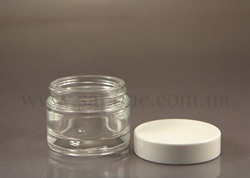 Баночка БС30-5 (стекло прозрачное, белая крышечка), 30 мл - 1