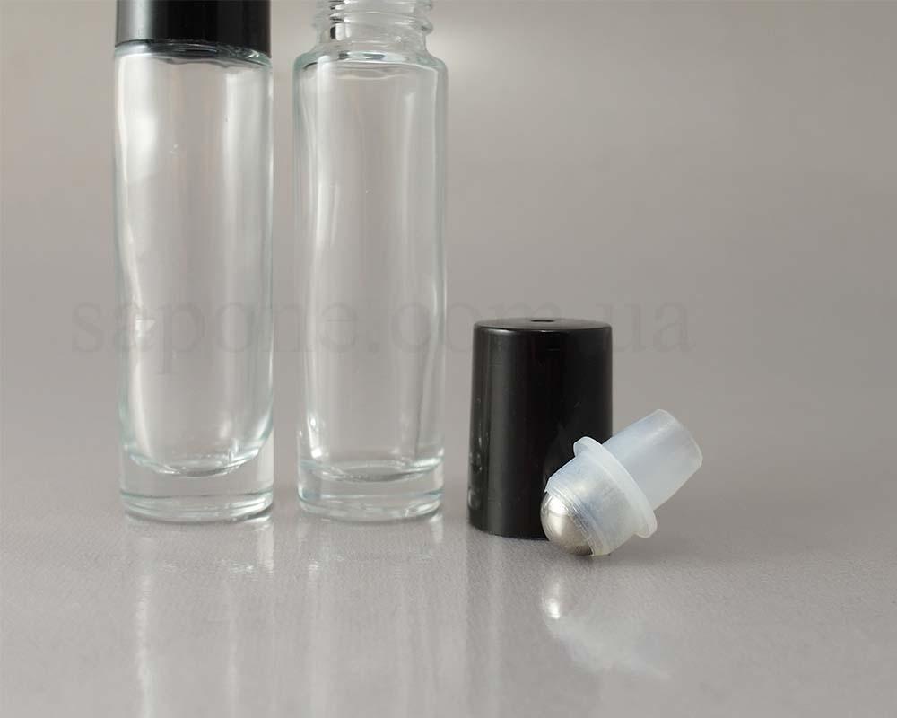 Флакон-роллер прозрачный (черная крышка, метал. шарик)  - 1